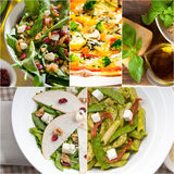 Healthy and tasty Italian food collage Stock Images