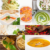 Healthy and tasty Italian food collage Royalty Free Stock Images