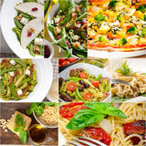 Healthy and tasty Italian food collage Royalty Free Stock Image