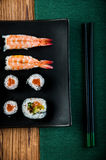 Healthy and tasty Japanese sushi with seafood Stock Photo