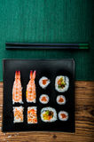 Healthy and tasty Japanese sushi with seafood Royalty Free Stock Photos