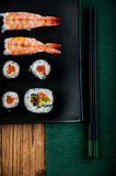 Healthy and tasty Japanese sushi with seafood Stock Image