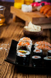 Healthy and tasty Japanese sushi with seafood Royalty Free Stock Photography