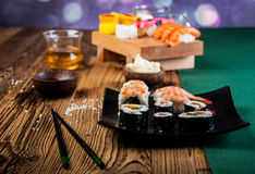 Healthy and tasty Japanese sushi with seafood Stock Photography
