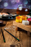 Healthy and tasty Japanese sushi with seafood Royalty Free Stock Image