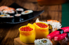 Healthy and tasty Japanese sushi with seafood Royalty Free Stock Images