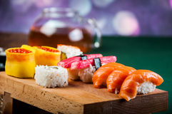 Healthy and tasty Japanese sushi with seafood Stock Images