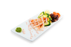 Healthy and tasty seafood salad with shrimps on a white background in the restaurant menu. eating concept Stock Photos