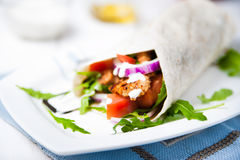 Healthy and tasty tortilla wrap sandwiches Stock Images