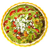 Healthy tasty vegetarian quiche with clipping path Stock Photography