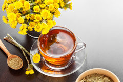 Healthy tea closeup, bucket with coltsfoot flower Stock Photography