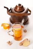 Healthy tea with ginger and orange Royalty Free Stock Photos