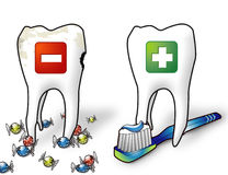 Healthy teeth. Healthy and ill tooth Stock Images