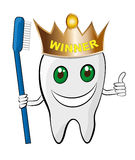 Healthy Teeth. Illustration of happy and healthy winner tooth with brush Stock Photography