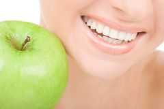 Healthy teeth and apple Stock Photos