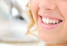 Healthy teeth, beautiful smile, young woman Stock Images