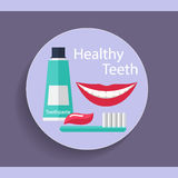 Healthy Teeth. Dental background with teeth, toothbrush and toot Stock Photography