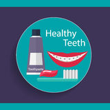Healthy Teeth. Dental background with teeth, toothbrush and toot Stock Images