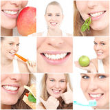 Healthy teeth dentists images. Healthy perfect white teeth and healthy eating with smile for dentist or dentists poster Royalty Free Stock Images
