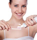 Healthy Teeth. Isolated on white stock photos