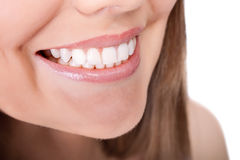 Healthy teeth and smile. Woman teeth and smile, close up, isolated on white Royalty Free Stock Image