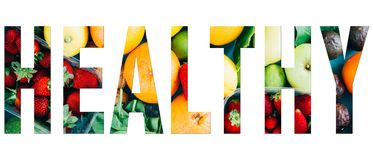 healthy text image stock images
