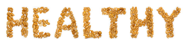 Healthy text, peanuts Stock Image
