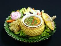 Healthy thai food, nam prik kapi pla duk fu. Fried fish with shrimp paste dip eat with vegetables, thailand Stock Photos