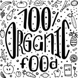 Healthy theme hand-written lettering. Monochrome vector illustration. 100% organic food. stock illustration