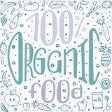 Healthy theme hand-written vector lettering. Healthy theme hand-written lettering. Colourful vector illustration. 100% organic food Stock Photos