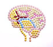Healthy thinking. Creative medicine and healthcare concept made of drugs and pills, in the shape of human brain Royalty Free Stock Photo