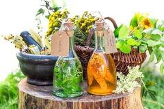 Healthy tincture with herbs and alcohol Stock Photo