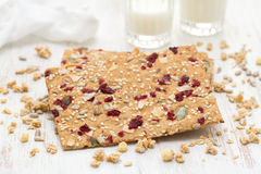 Healthy toast with dry fruits and seeds Royalty Free Stock Photos