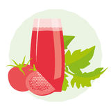 Healthy tomato detox drink. With green leaves on a decorative round background Stock Photography