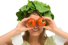 Healthy tomato eyeglasses royalty free stock images