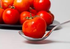 Tomato in Spoon-Healthy Tomato Stock Photos