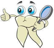Healthy tooth. Tooth checking his health with magnifying glass tool vector illustration