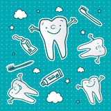 Healthy tooth cartoon wallpaper Stock Image