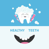 Healthy tooth holding paste and brush. Bubbles foam. Smiling mouth. Banner set. Cute cartoon character. Oral dental hygiene Childr royalty free illustration