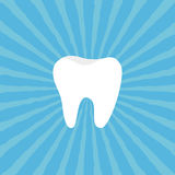 Healthy Tooth icon. Oral dental hygiene. Children teeth care. Blue sunburst starburst background with ray of light. Flat design. Royalty Free Stock Photography
