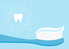 Healthy tooth icon set. Toothbrush with toothpaste. Brushing teeth Oral dental hygiene Brush paste. Baby health care. Shining effe Stock Photography