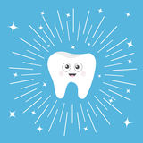 Healthy tooth icon with smiling face and big eyes. Cute cartoon character. Round line circle. Oral dental hygiene. Children teeth Stock Photography