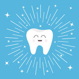 Healthy tooth icon with smiling face. Cute cartoon character. Round line circle. Oral dental hygiene. Children teeth care. Shining. Effect stars. Blue Royalty Free Stock Photos