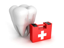 Healthy Tooth And Medical Kit on white background. 3d Render Illustration Royalty Free Stock Images