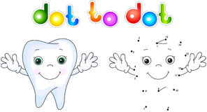 Healthy tooth smiling. Connect dots and get image. Educational g Royalty Free Stock Images