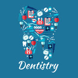 Healthy tooth symbol with dentistry flat icons. Dental care and dentistry flat icons in a shape of a tooth with dentist chairs and instruments, toothbrushes and Stock Photography