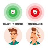 Healthy Tooth And Toothache Vector. Man With Toothache And Bandage. Concept For Dentist, Diseases, Tooth Day.  Stock Image