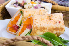 Healthy  tortilla wrap sandwich closeup Stock Photo