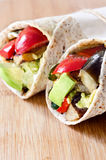Healthy tortilla wraps with roasted vegetables Stock Photos