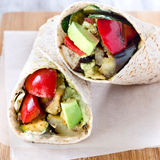 Healthy tortilla wraps with roasted vegetables Royalty Free Stock Photo